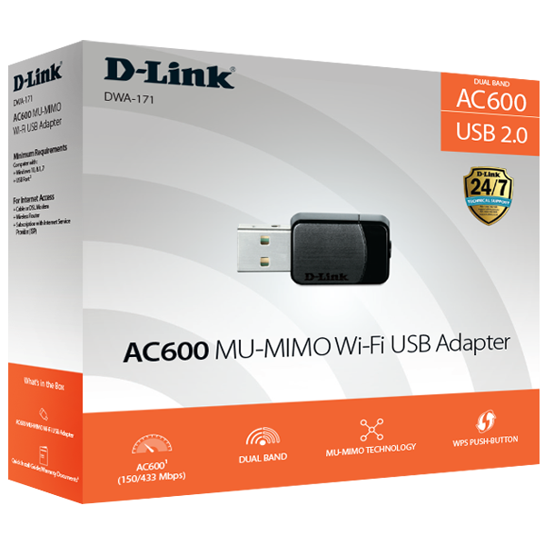 Wireless AC600 Dual Band MU-MIMO Nano USB Adapter