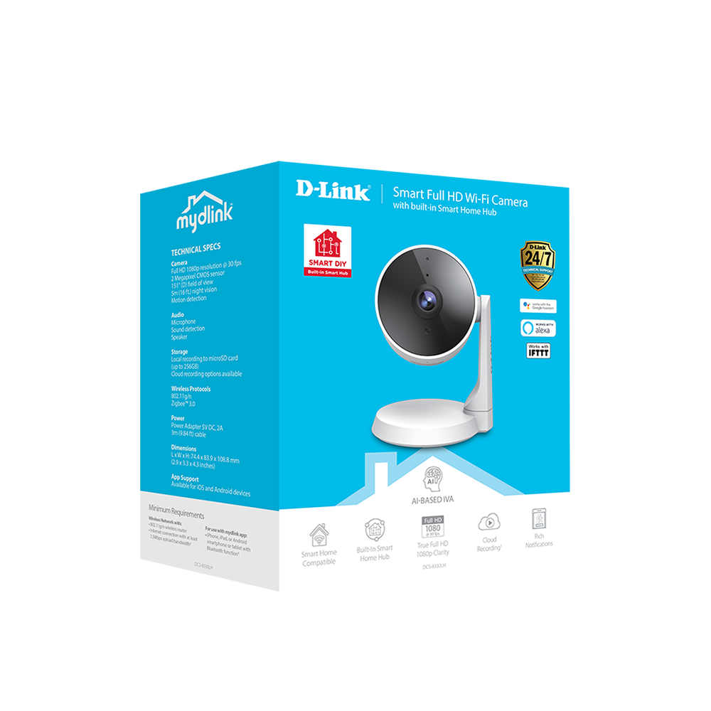D-Link Smart Full HD Wi-Fi Camera with built-in Smart Home Hub DCS-8330LH